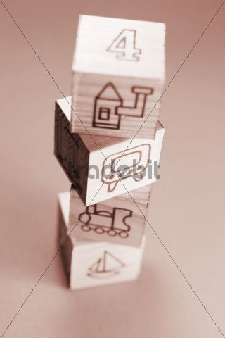 Childrens wooden picture cubes