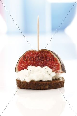 Finger food, pumpernickel topped with assorted cheese and a fig
