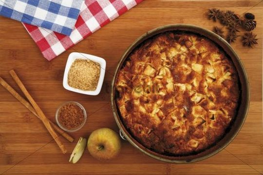 Apple pie with fresh apples, cinnamon and sugar