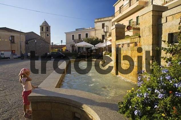 Piazza Risorgimento in Arzachena, Sardinia, Italy