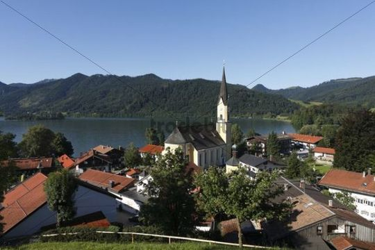 St. Sixtus Parish church, Schliersee Lake, Upper Bavaria, Germany, Europe