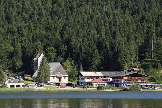 Village and Lake Spitzingsee, Mangfall Mountains, Alps, Upper Bavaria, Germany, Europe