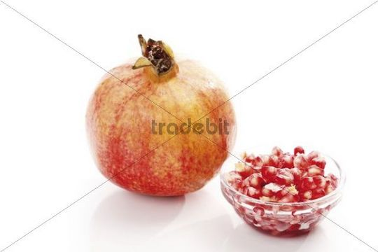 Pomegranate Punica granatum with seeds and pulp, arils