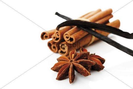 Cinnamon sticks, anise stars and vanilla pods