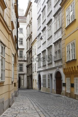 Domgasse with Mozarthaus, Mozarts house, second house on the right, Vienna, Austria, Europe
