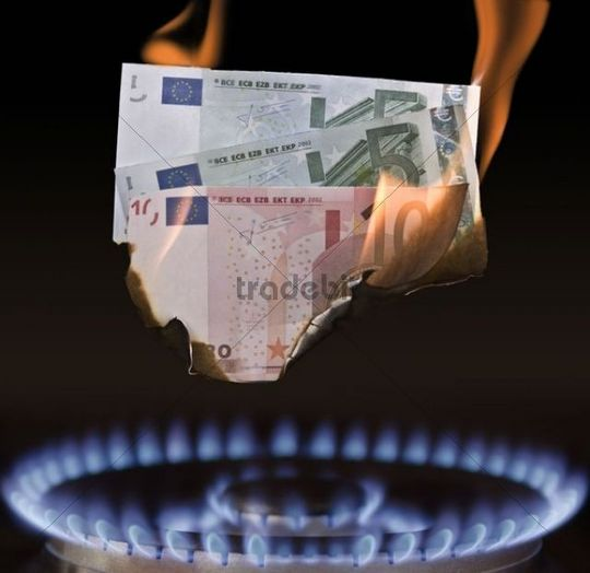 Gas flame burning euro-bills