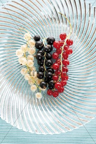 Red, white and black currants on a glass plate