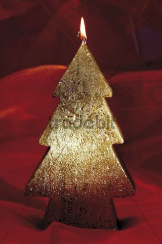 Golden candle, shaped as a Christmas tree