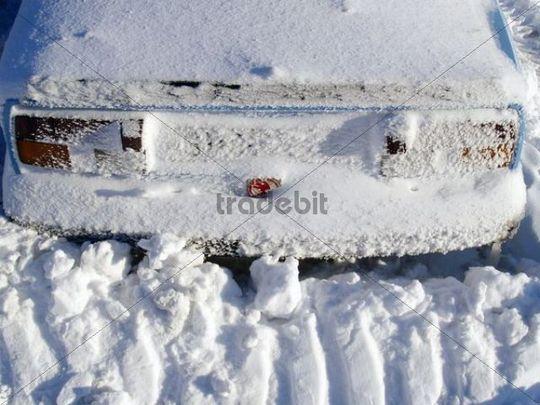 Snow-clad car in Cervenohorske Gap, Hrub Jesenk mountain range, protected landscape area, Northern Moravia, Czech Republic, Central Europe