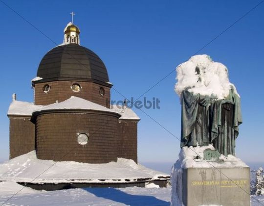 Sculpture and Chapel of Cyril and Methodius on Radhost Peak, Beskids, protected landscape area, Northern Moravia, Czech Republic, Central Europe