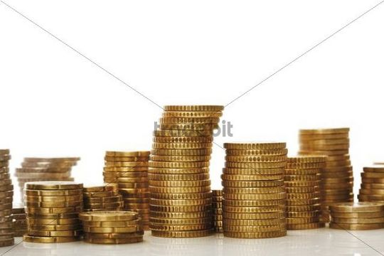 Stacks of euro coins, stack of money