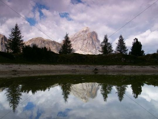 Lago Val de Limides and Tofana di Rozes, with tree reflections, Dolomites, Alps, Italy, Europe