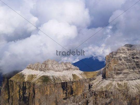 Piz Ciavazes from Sass Pordoi, Gruppo di Sella, Sella group, Dolomites, Alps, Italy, Europe