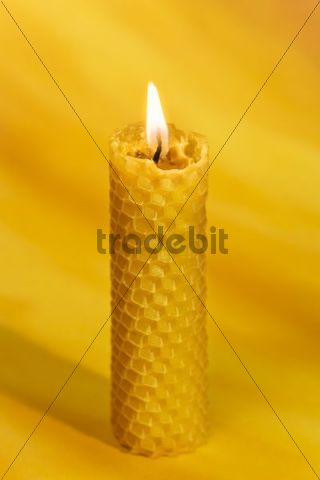 Burning bees wax candle