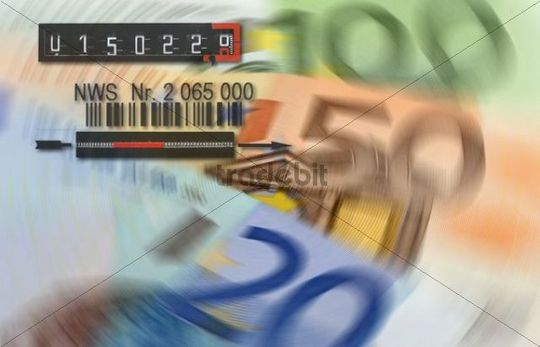 Euro banknotes, electricity meter, symbolic of energy costs