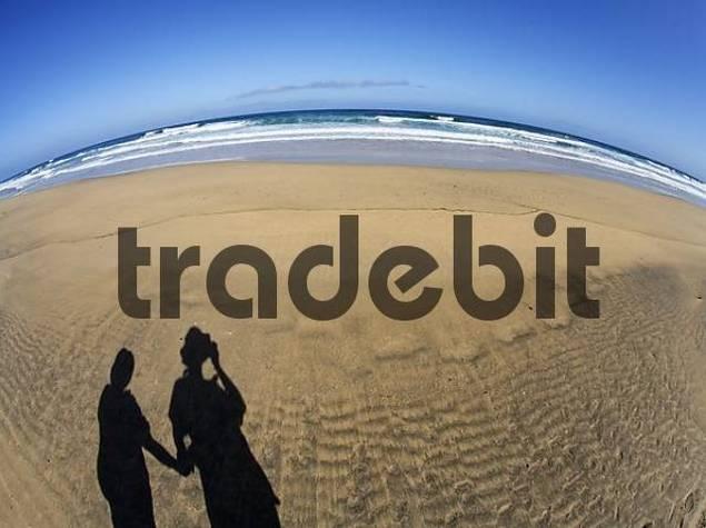 shadow of couple , Playa de Cofete , Jandia , Fuerteventura , Canary Islands