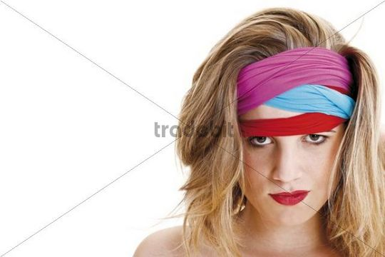 Young woman with colourful headbands, portrait