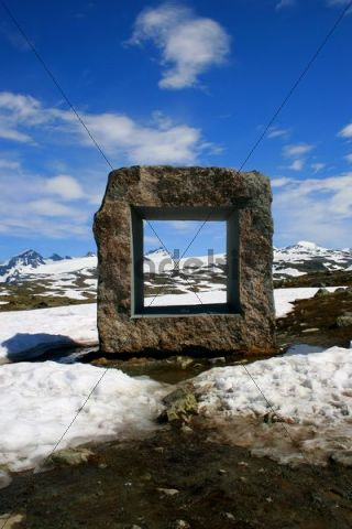 Stone sculpture in Jotunheimen National Park, Sognefjellet Tourist Road, Norway, Scandinavia, Europe