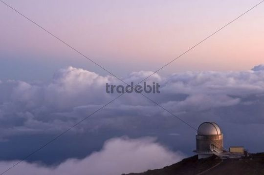 Observatory at sunset, Roque de los Muchachos, La Palma, Canary Islands, Spain, Europe