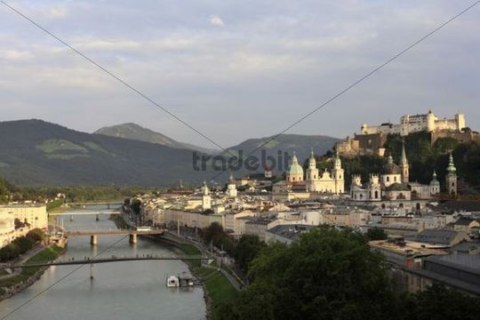 Historic district of Salzburg with Salzach River, Festung Hohensalzburg Fortress, view from Moenchsberg Hill, Humboldt-Terrace, Austria, Europe
