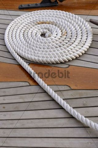 Coil of rope, maritime detail, deck, sailing ship, Hamburg, Germany, Europe