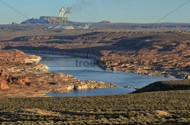 View over Lake Powell towards a coal power plant, Navajo Generating Station / Lake Powell, Page, Arizona, United States, North America