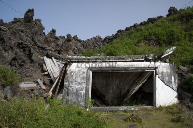 Buried house, Eldfell lava field, town of Vestmannaeyjar, Heimaey Island, Westman Islands, Su?urland or South Iceland, Iceland, Europe