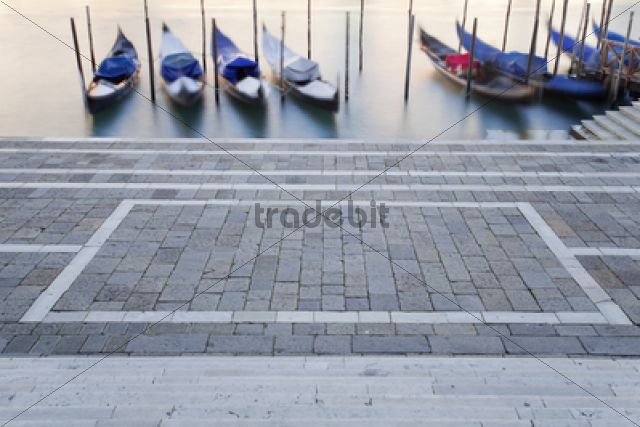Gondolas on the Grand Canal, Canal Grande, in the morning / Venedig, Venezien, Italy, Europe
