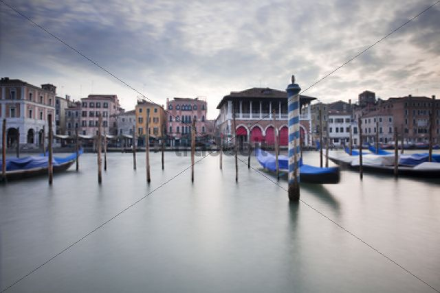 Grand Canal, Canal Grande with boats and palazzi at dusk / Venedig, Venezien, Italy, Europe