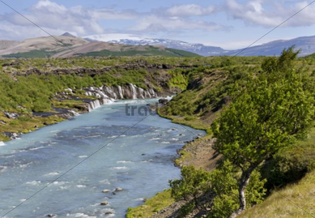 Hraunfossar, Ok Glacier at back, Husarfell, Iceland, Europe