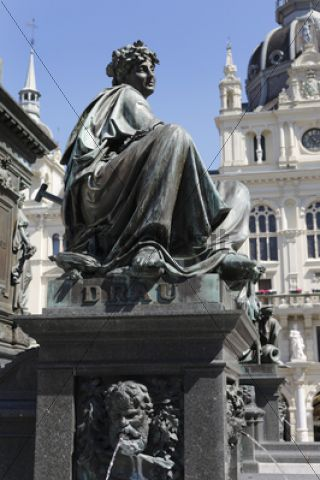 Archduke Johann Fountain, allegorical representation of the river Drau, Hauptplatz square, Graz, Styria, Austria, Europe, PublicGround