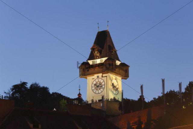 Clock tower on Schlossberg, castle hill, Graz, Styria, Austria, Europe