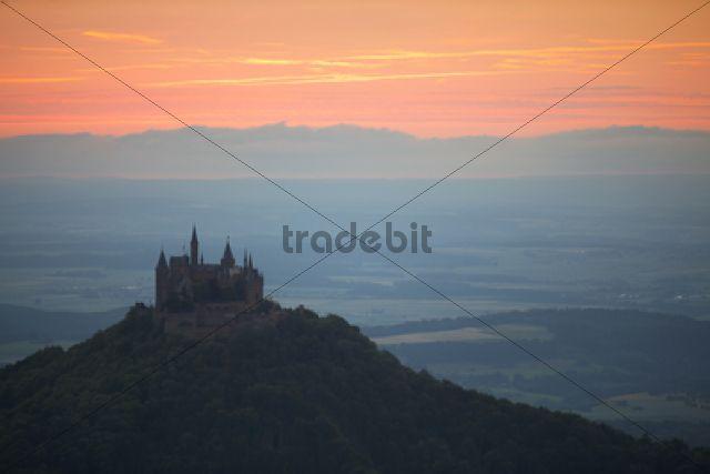 Evening mood with the sunset near Burg Hohenzollern Castle, Swabian Alb, Baden-Wuerttemberg, Germany, Europe, PublicGround