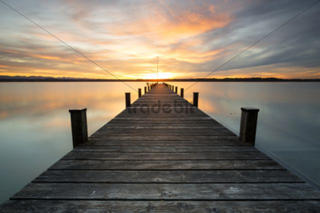 jetty sunset on lake starnberg at ambach bavaria germany europe. Black Bedroom Furniture Sets. Home Design Ideas