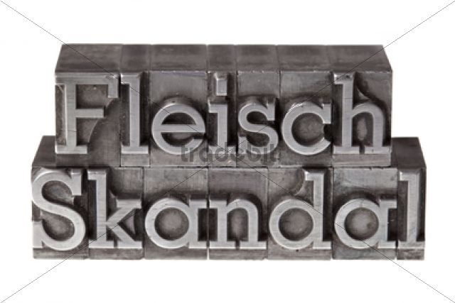 """Old lead letters forming the term """"""""Fleischskandal"""""""", German for meat scandal /"""