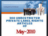 Thumbnail 200 Unrestricted PLR Articles of May 2010