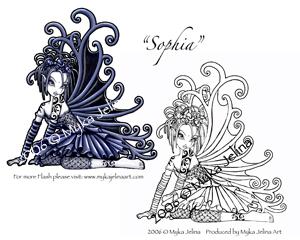 Sophia by myka jelina gothic fairy tattoo for Myka jelina coloring pages