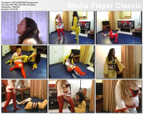 Pay for QOTVID023 Queen of Tights vs Legs Labowe