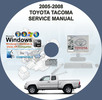 Thumbnail TOYOTA TACOMA FACTORY SERVICE REPAIR MANUAL ON CD 2005-2008
