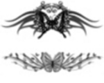 Thumbnail 2 x Tattoo flashes - Butterflies with tribals leaves and flowers
