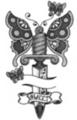 Thumbnail Tattoo flash - Butterflies with dagger