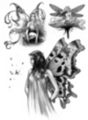Thumbnail 3 x Tattoo flashes -Fairies with Butterflies/Flower