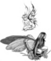 Thumbnail 2 x Tattoo flashes -Fairies with leaves
