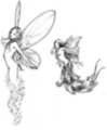 Thumbnail 2 x Tattoo flashes - Fairy that appears from light/ body-leaves Fairy