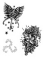 Thumbnail 3 x Tattoo flashes -  Triskell-shaped Stars/ Winged Key with stars/Stars with roses