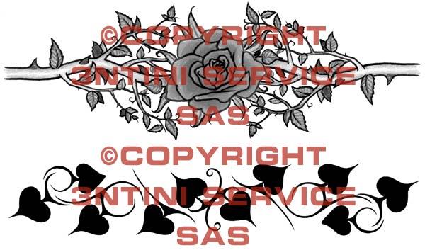 armband tattoo design. 2 x Tattoo flashes - Rose and