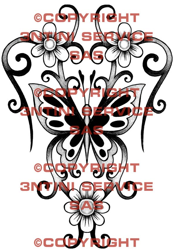 Pay for Tattoo flash - Butterfly with flowers and tribal