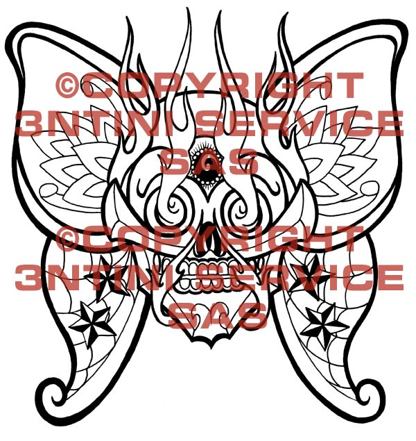 Traditional Tattoo Flash Skulls. Tattoo flash - Skull-Butterfly