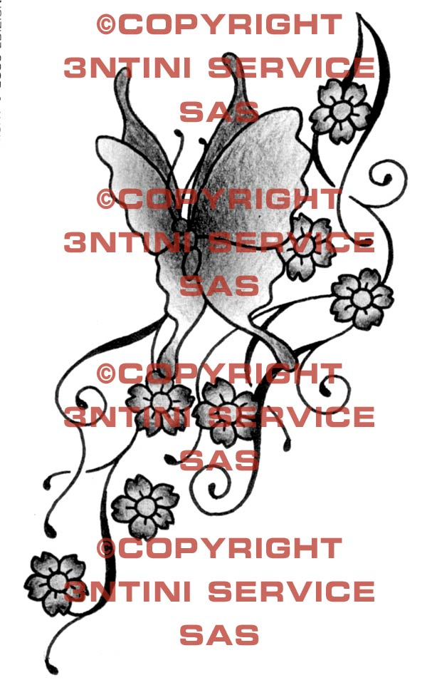 Pay for Tattoo flash - Butterfly with flowers
