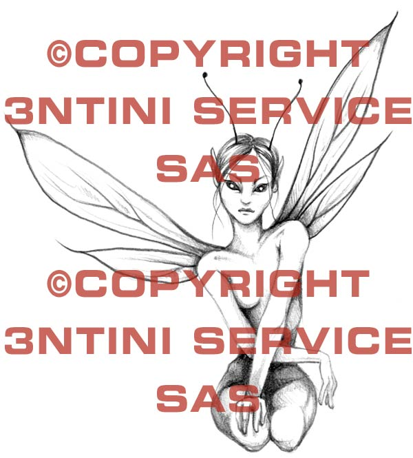Pay for Tattoo flash - seated Fairy